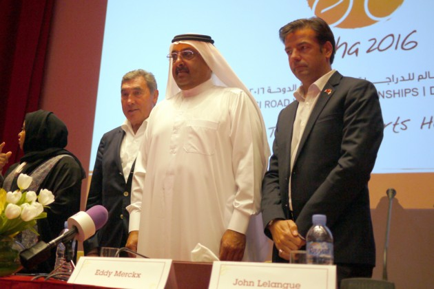 Tour of Qatar co-owner and course designer Eddy Merckx at the 2016 World Championships route unveiling