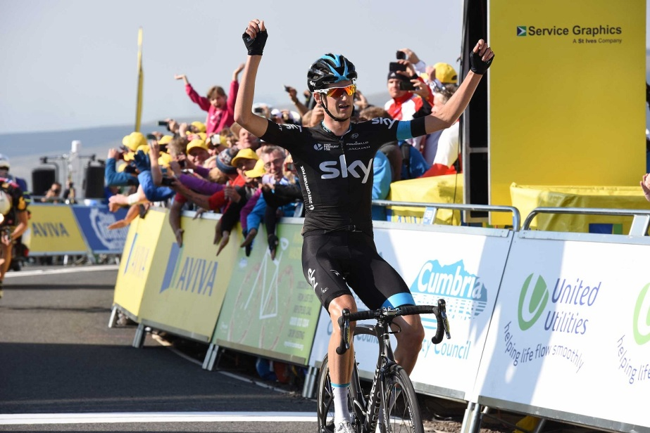 Wout Poels crept past Edvald Boasson Hagen within metres of the line (Sweetspot)