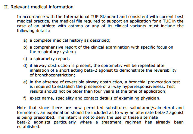 medical information required for asthma tue - wada
