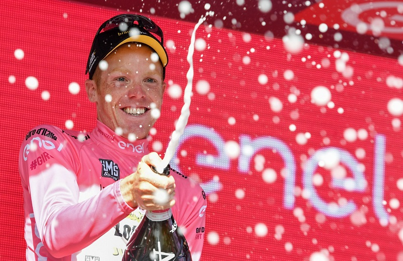 Dutch rider Steven Kruijswijk of  Team Lotto Jumbo, celebrates on the podium wearing the overall leader's pink jersey after the 14th stage of the Giro d'Italia cycling race over 210 km from Alpago to Corvara, Italy, 21 May 2016. ANSA/ALESSANDRO DI MEO