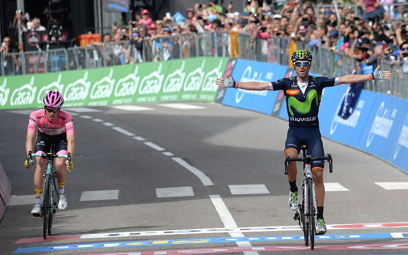Spanish rider Alejandro Valverde of Moviestar team celebrates on the podium after winning the sixteenth stage of the Giro d'Italia 2016, from Bressanone to Andalo 132 km, Italy, 24 May 2016 ANSA/LUCA ZENNARO