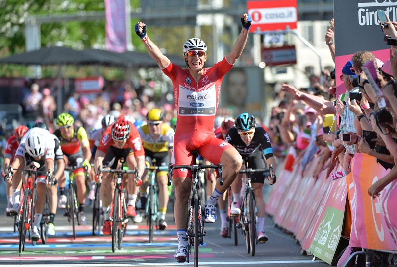 German rider Marcel Kittel (C) of the Etixx–Quick-Step team celebrates after winning the third stage of the Giro d'Italia cycling race over 190km between Nijmegen and Arnhem, Netherlands, 08 May 2016 ANSA/LUCA ZENNARO
