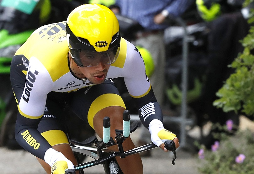 Slovenian rider Primoz Roglic of Lotto Jumbo on the way of the TTT 9th stage of Giro d'Italia cycling race from Radda in Chiantie to Greve in Chianti, 15 May 2016. ANSA/CLAUDIO PERI