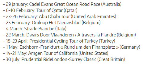 UCI WorldTour 2017 additions